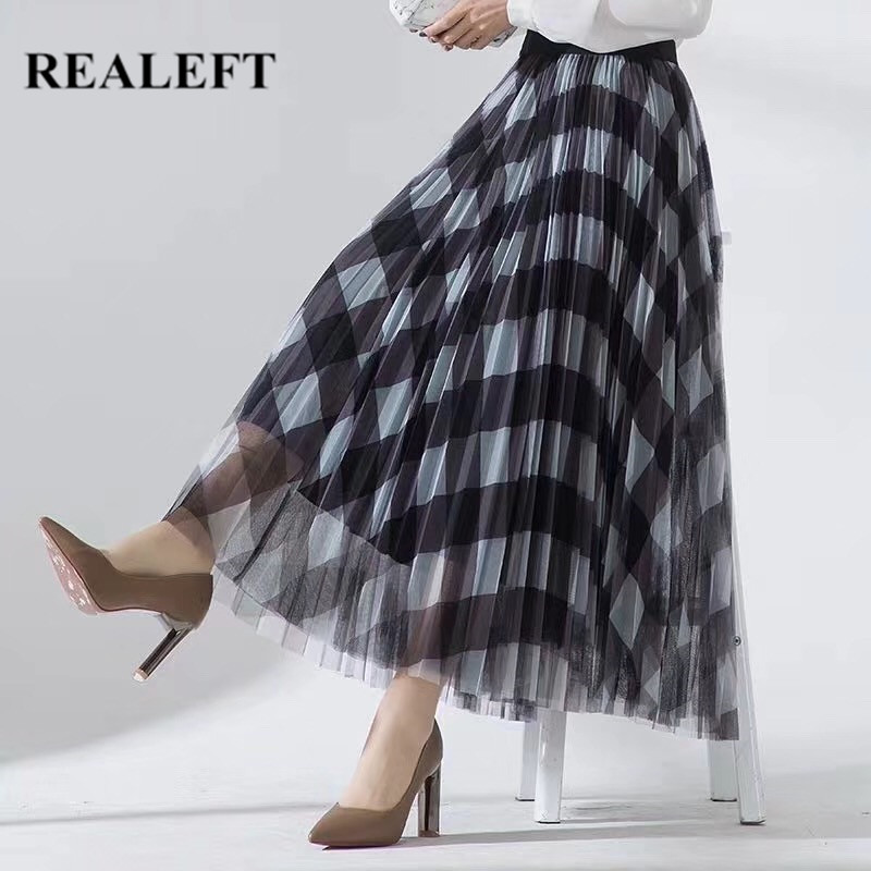 REALEFT 2020 Spring Summer Women Vintage Mesh Patchwork Long Skirts High Waist Plaid Harajuku Tulle A-Line Mid-Calf Skirt Ladies