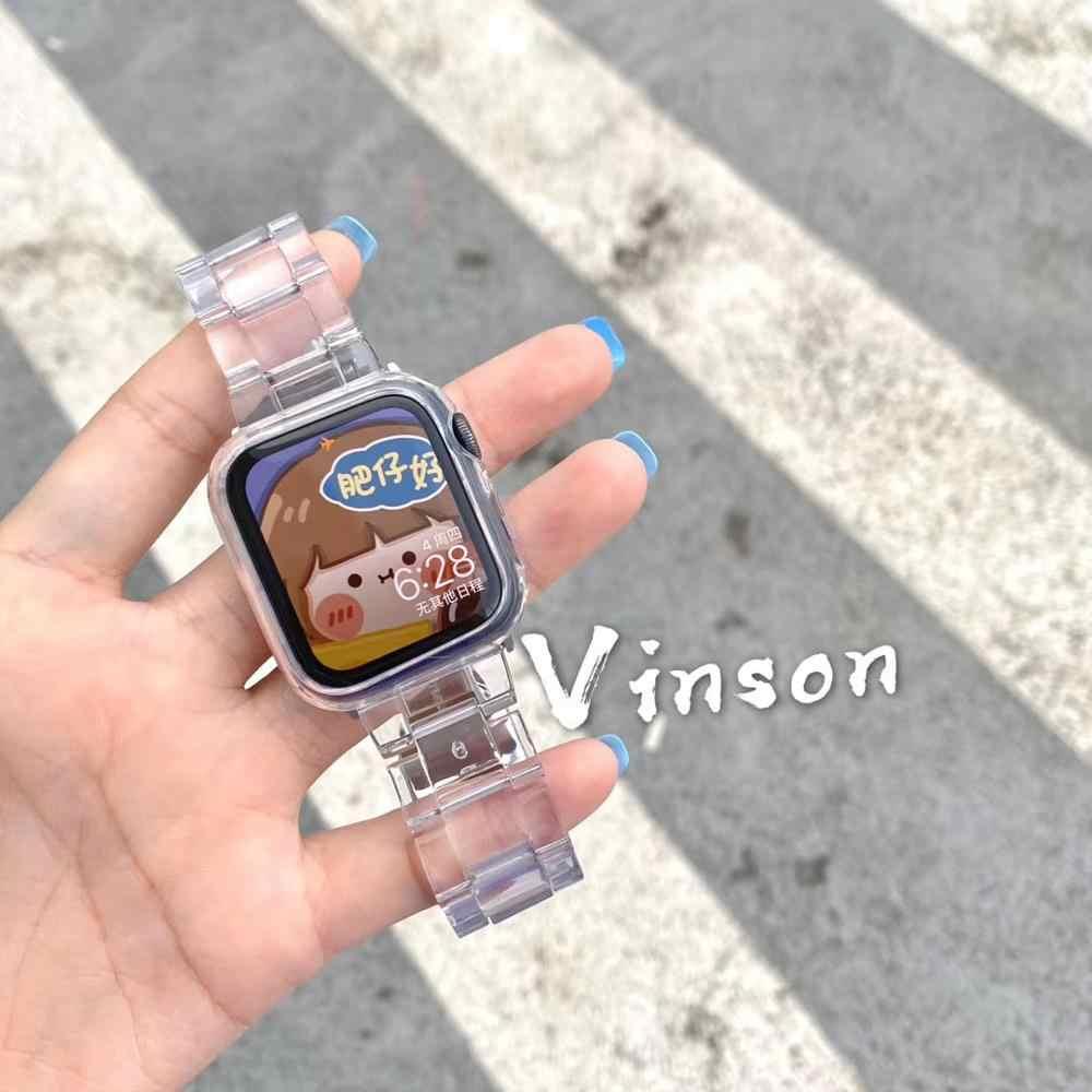 Ремешок из смолы для часов apple Watch 6 5 4 band 42 мм 38 мм correa прозрачная сталь для iwatch 6 series 5 4 3/2 ремешок для часов 44 мм 40 мм