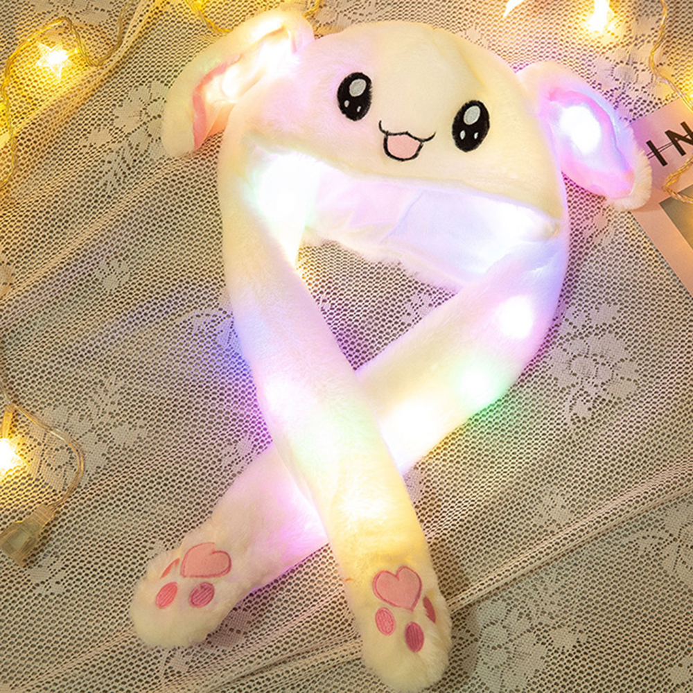 HOT Newly Cute Funny Moving Rabbit Ear Plush Hat  Airbag Cap LED Plush Toys Ear Up Down Soft Airbag Cap Toy For Girls Kids Gift