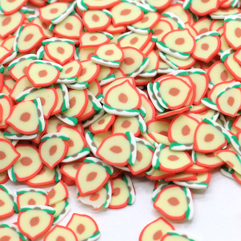 20g/Pack Peach Slices Slime Supplies Toy Polymer Clay Fimo Fruit Slices Charms Accessories Addition For Fluffy Clear Slimes Gift