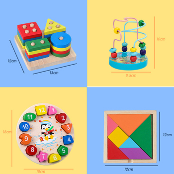 Kids Montessori Wooden Toys Rainbow Blocks Kid Learning Toy Baby Music Rattles Graphic Colorful Wooden Blocks Educational Toy 5