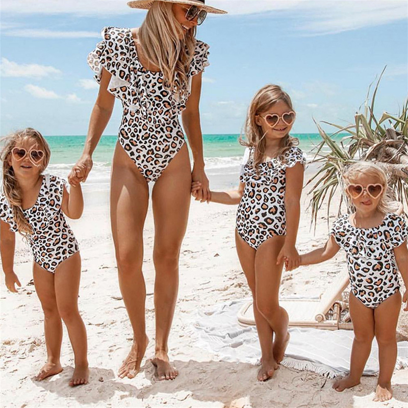 Leopard Swimsuit Beach-Wear One-Piece Girl Female Kids New Mom Parent-Child title=