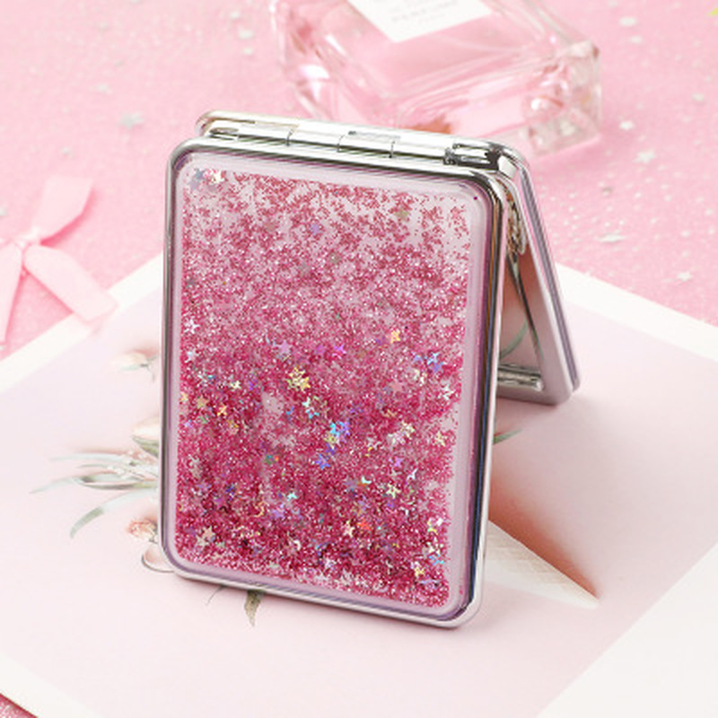 Fashion 2-Face Mini Pocket Makeup Mirror Creative Cosmetic Compact Mirrors With Flowing Sparkling Sand Can Wholesale Lettering