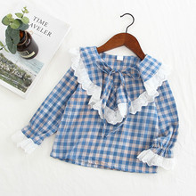 Новая стильная весенне-осенняя рубашка с длинными рукавами в Корейском стиле для девочек кружевная рубашка с отложным воротником модная детская рубашка в клетку