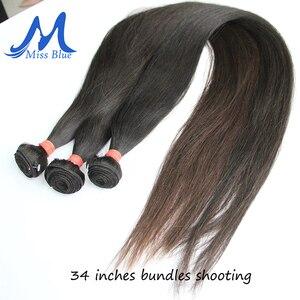 Image 5 - Missblue, 28, 30, 32, 34, 36, 38, 40 дюймов, бразильские волосы, пряди, прямые, 100% человеческие волосы, пряди для наращивания Remy