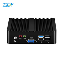 XCY Fanless Mini Pc Intel Celeron j1900 Win Windows 10 7 Linux Thin Client Minipc Pfsense Micro 2 Lan Port Tv Desktop Computers