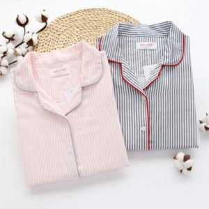 Image 1 - Sleepwear Womens Cotton Home Suit Pajamas Winter Long Sleeve Stripe Pyjama Female Casual Lounge Set Dropshipping