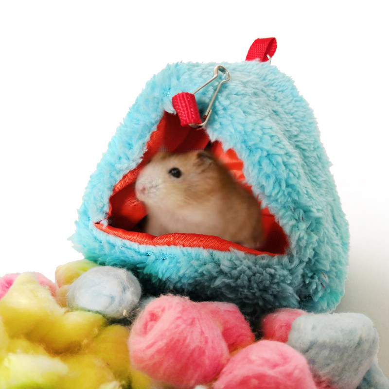 Small Pets Hanging Nest Warm Hammock Triangular-shaped House For Hamster Parrot Sleeping Bag House Hamster Accessories Winter