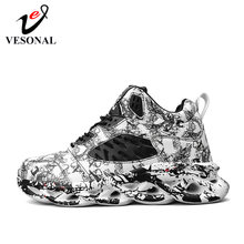 VESONAL 2020 Spring Graffiti High Top Hip Hop Sneakers Men Shoes Breathable Lightweigh Male Shoes Footwear street hightop Red(China)