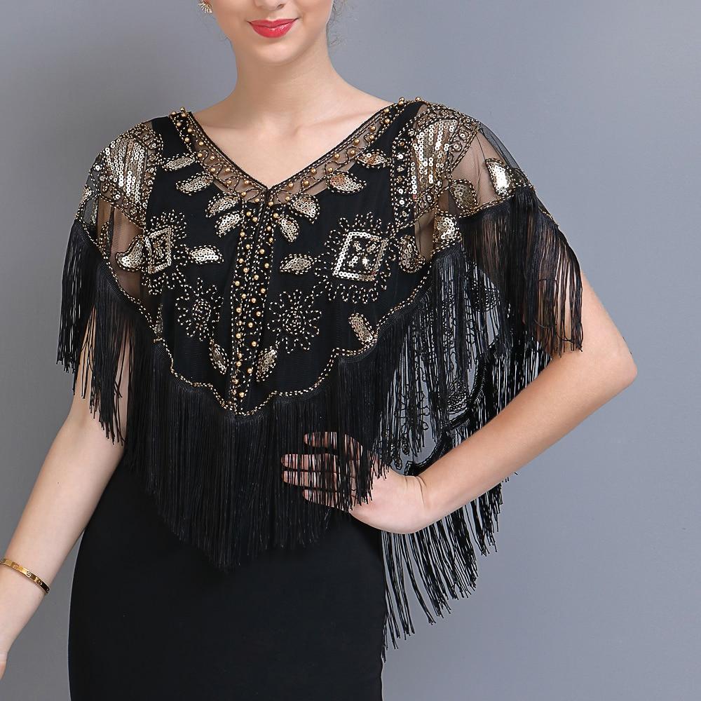 Женская шаль с блестками 1920s, блестящая шаль с кисточками, жемчужинами и бахромой, сетчатые накидки-болеро Gatsby, накидка-накидка