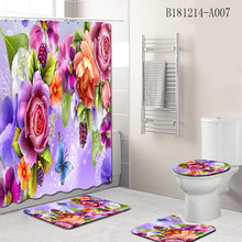 Flower Pattern Printing Bathroom Waterproof Shower Curtain Set Pedestal Rug Lid Carpet Toilet Cover Bath Mat Set(China)