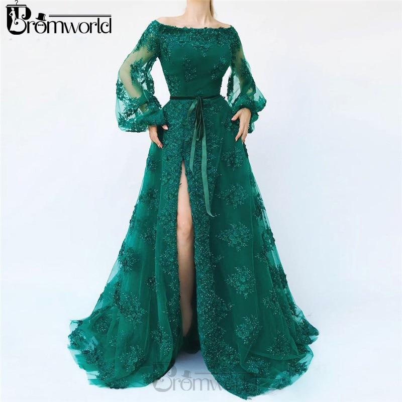 Emerald Green Slit Puff Sleeve Muslim Evening Dress Robe De Soiree Islamic Dubai Kaftan Saudi Arabic Evening Gown Prom Dress