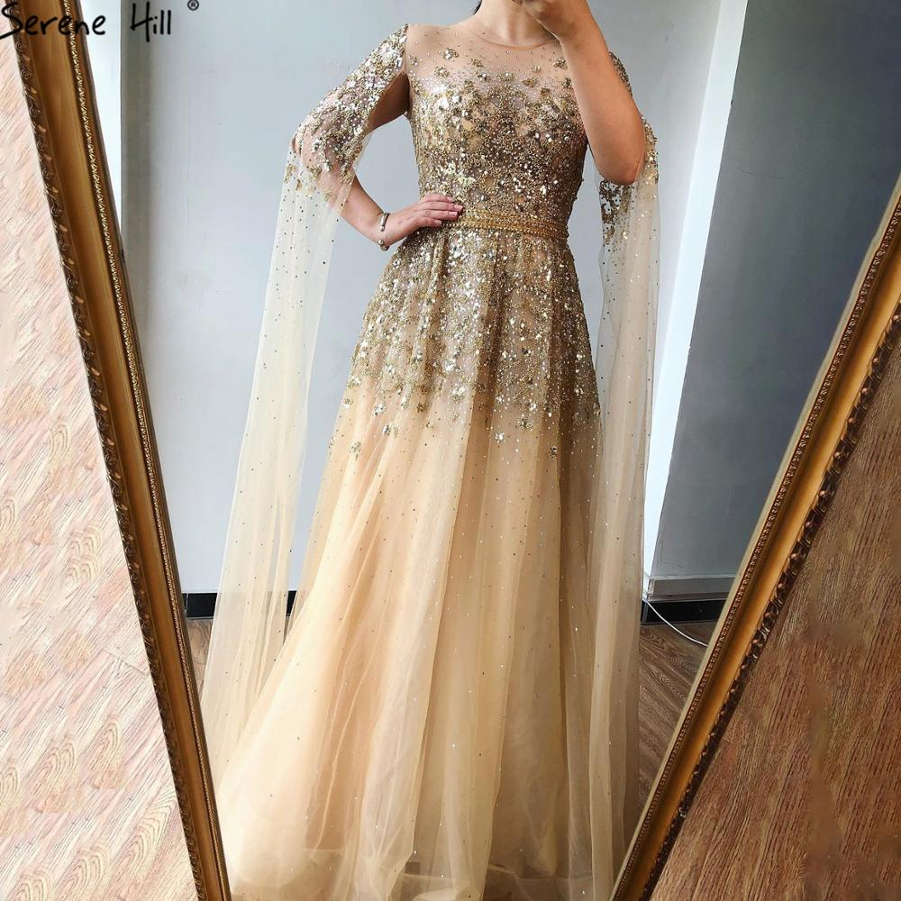 Evening-Dress Gown Crystal Party-Wear Serene Hill Dubai Gold Cape-Sleeves Formal Women
