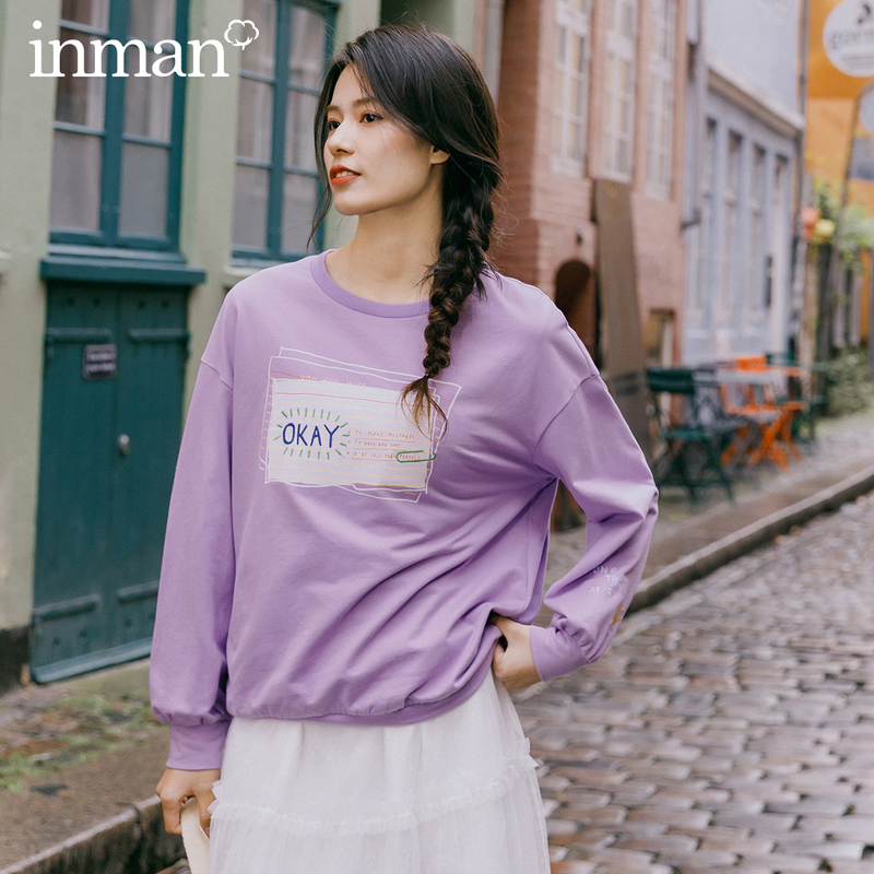 INMAN 2020 Spring New Arriavl Literary Letter Embroidered Dropped Shoulder Sleeve Hoodie
