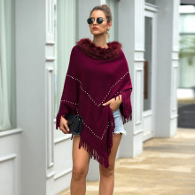 цена на Winter Women's Sweater Knitted Pullover Sweaters Fringed Cloak Cape Fur Collar Beaded  Round Neck Solid Color Sweater Wome