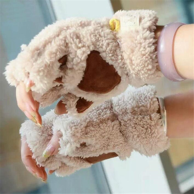 Half Finger Warm Soft Plush Short Fingerless Fluffy Bear Cat Gloves Women Cute Cat Claw Paw Plush Mittens Costume