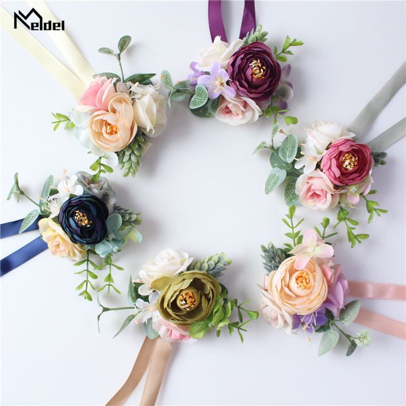 Meldel Men Corsage And Boutonniere Bridal Wrist Corsage Pink Blue Artificial Rose Flower Bridesmaid Bracelet Wedding Accessories