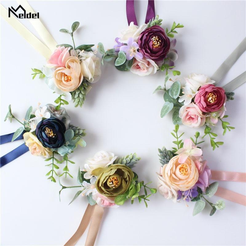 Meldel Men Corsage And Boutonniere Bridal Wrist Corsage Pink Blue Artificial Rose Flower Bridesmaid Bracelet Wedding Accessories