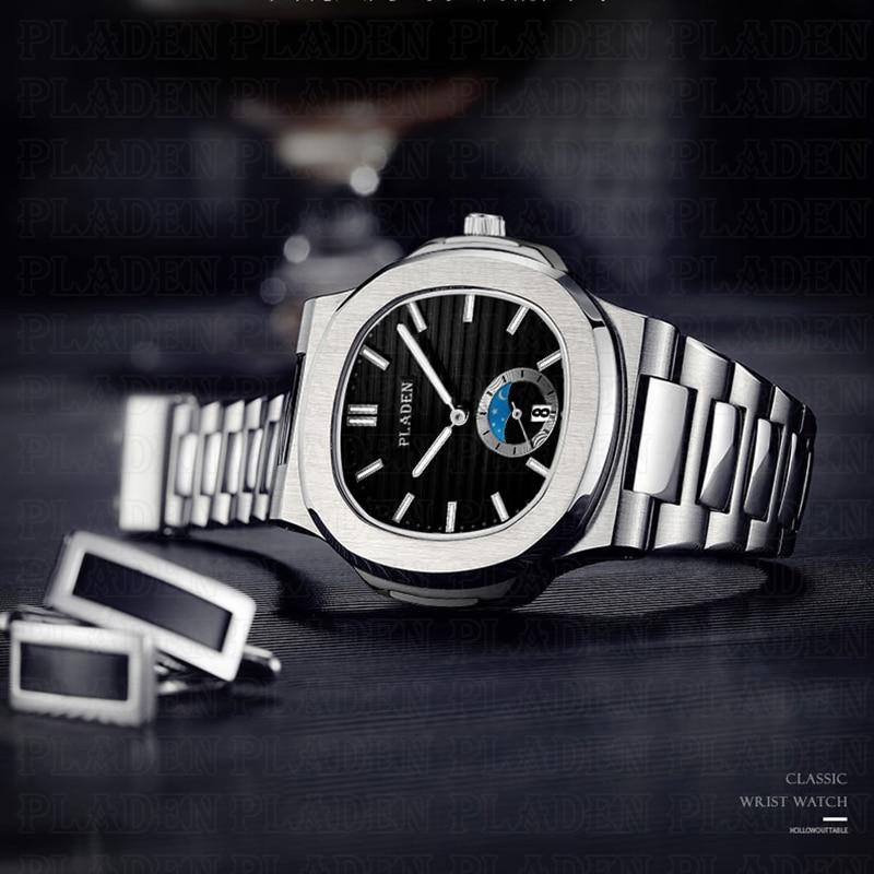 Drop Shipping 2020 New PLADEN Men's Wrist Watch Rado Stainless Steel Strap Designer Watches Men Casual Quartz Mens Wristwatch