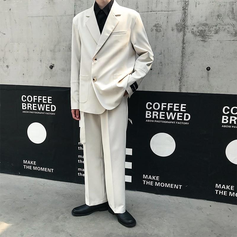 Men 2PCS Suits Sets (jacket+pant) Male Vintage Streetwear Hip Hop Loose Business Casual Suit Coat Blazer Straight Belt Pant