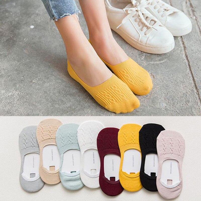 5 пар, женские хлопковые нескользящие носки