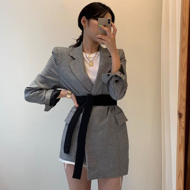Autumn Winter New Vintage Full Sleeve Plaid Stitching Irregular Straps Women Blazer Korea Style Loose Trend Coat