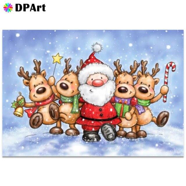 Indirim Elmas Boyama Tam Kare Yuvarlak Elmas Karikatur Noel Baba