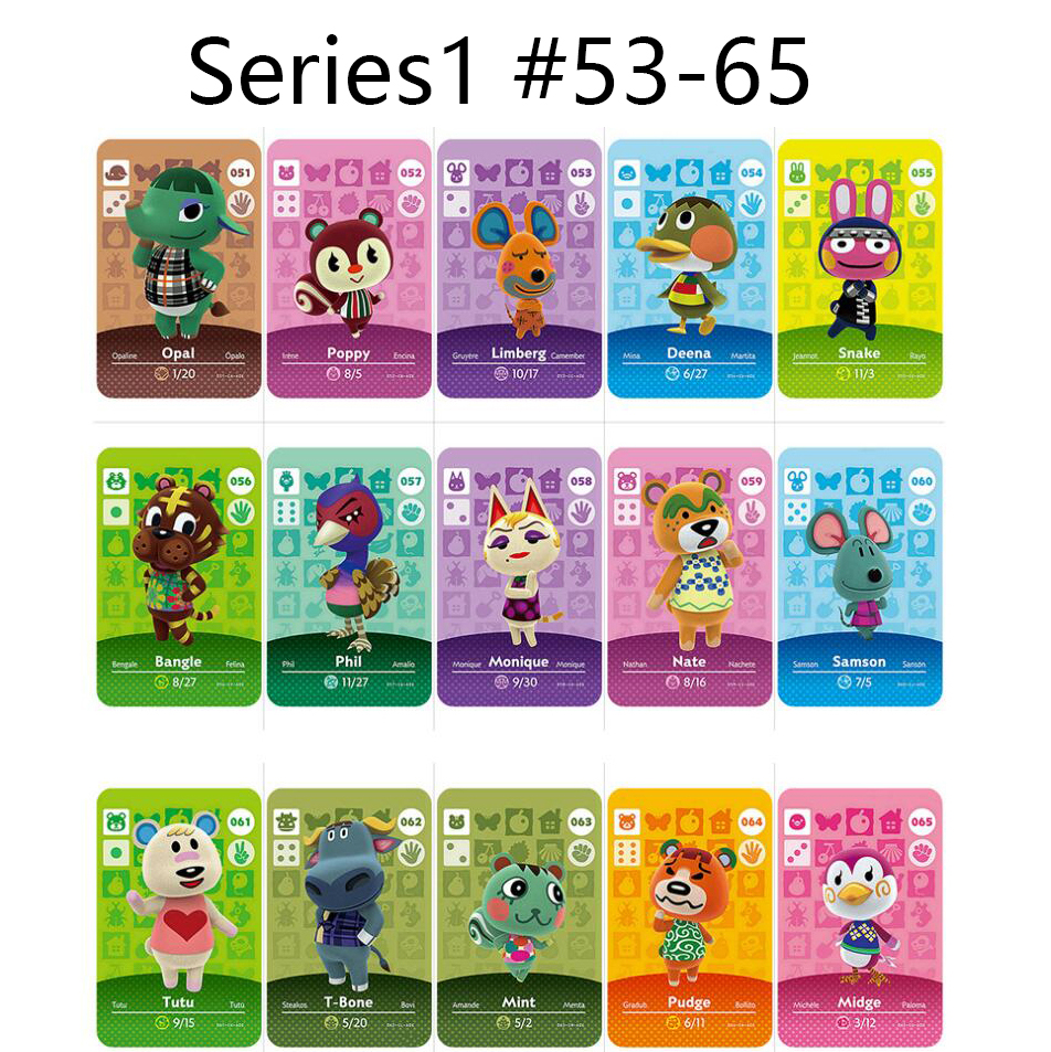 Series 1 (53-65) Animal Crossing Card Amiibo Cards Locks Nfc Card Work For Switch NS 3ds Games Series 1 (53 To 65) Animal Cross