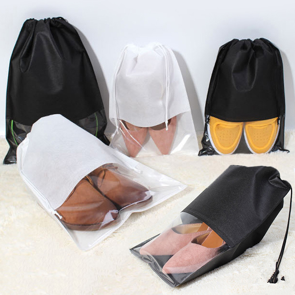 Women Men Shoes Bag Solid Color Non-Woven Drawstring Cloth Bags Pouch Unisex Organizer Bag Hotel Storage Travel Accessories