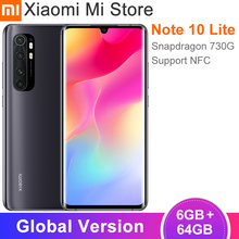 Versão global xiaomi mi note10 lite smartphone 6gb 64gb snapdragon 730g 64mp câmera 6.47 display display 5260mah bateria nfc