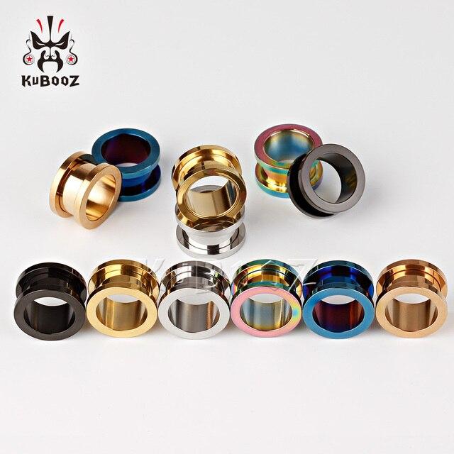 KUBOOZ Popular Stainless Steel Ear Piercing Tunnels Ring Plugs Gauges Screw Expanders Fashion Body Jewelry Unisex Earrings 2PCS 4