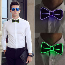 Polyester Silk Luminous Necktie Bow Tie Fashion Accessories Men Evening Show Flashing Gift Gentleman Christmas Bowtie Party(China)