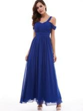 Платье бретельки выпускной платье дешево темный королевский синий пол длина A линия драпировка платья спина кружево вверх формальный вечер длинный выпускной платье