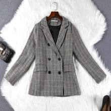 Womens suit jacket 2019 autumn new Slim large size check double-breasted ladies casual Plus Size womens clothing
