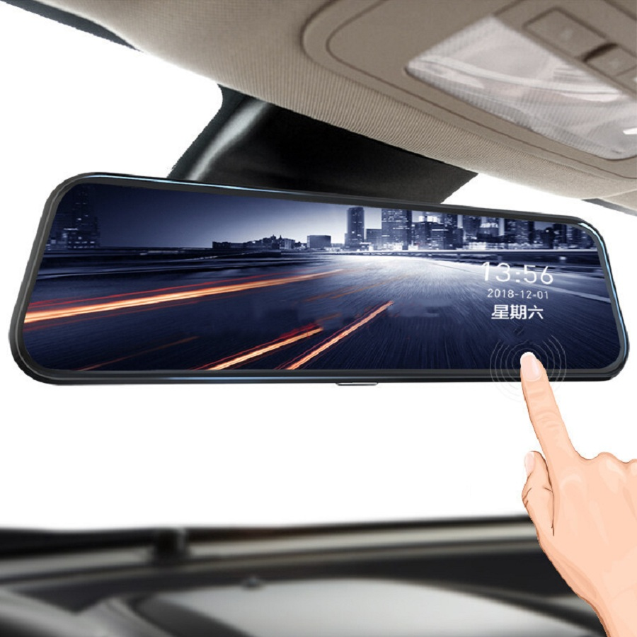 Diagtech 10 Inch Touch Car Dvr Streaming Rear View Mirror Dash Camera Night Vision FHD title=