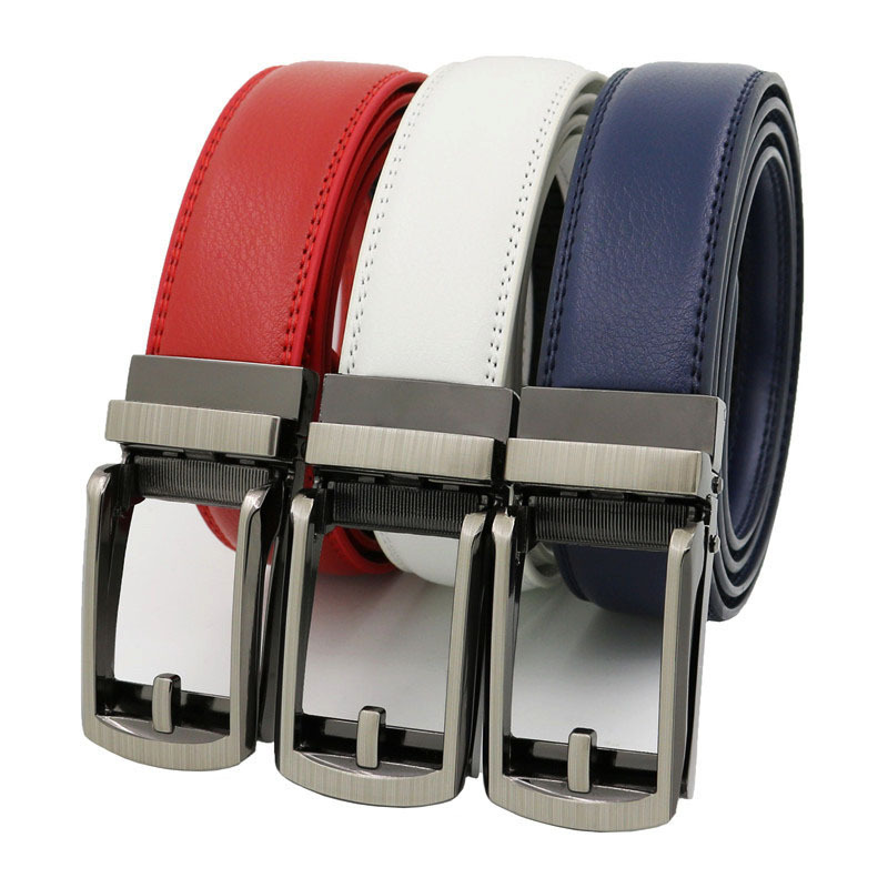 High Quality Click Men Belt Automatic Buckle Genuine Leather Cowhide Jeans Accessories Belts Youth Waistband Black White Red