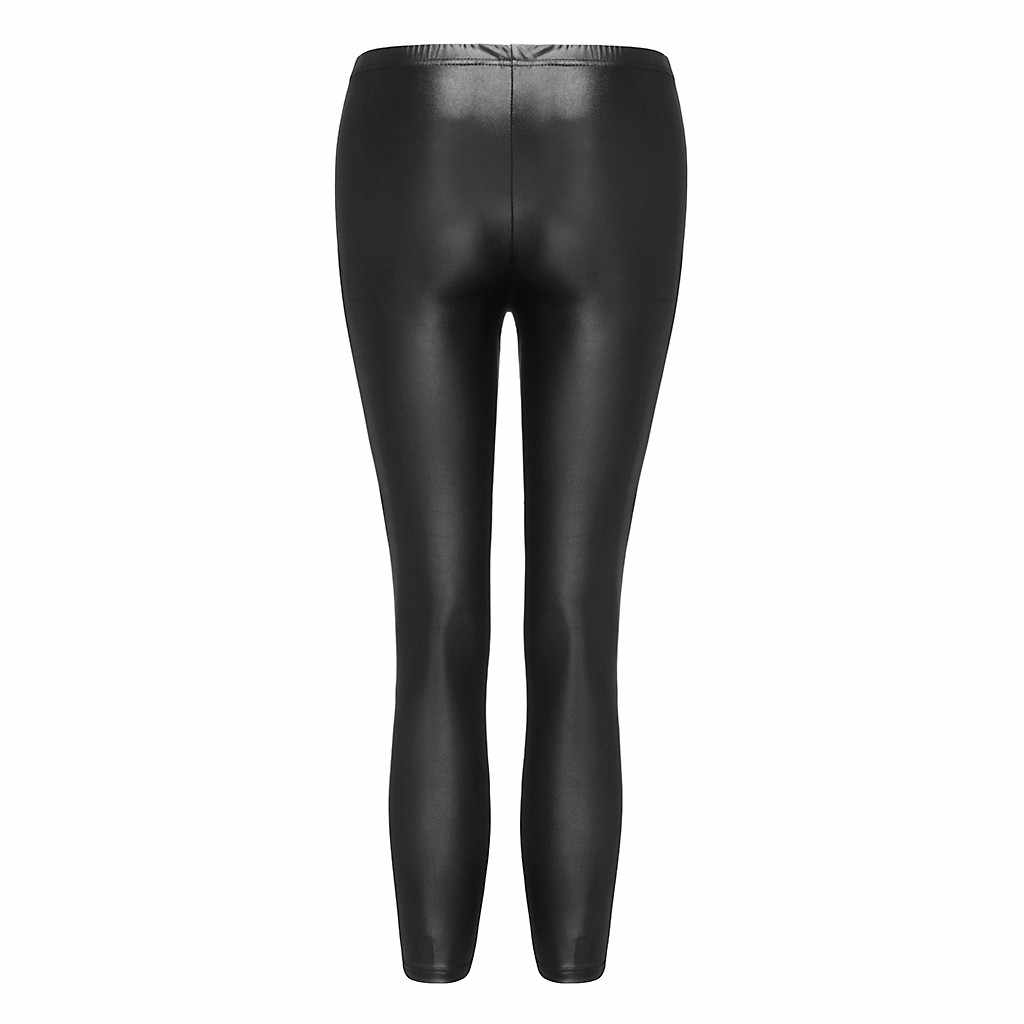 女性のパンツスリムハイウエストレギンス 2019 新韓国のファッションカジュアルな模造革フィットソリッド女性パンタロンズボン黒