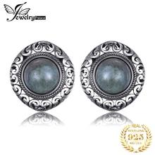 JewelryPalace Vintage 7ct Genuine Labradorite Stud Earrings 925 Sterling Silver Women Korean Earings Fashion Jewelry