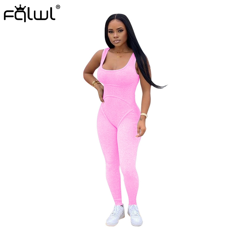 FQLWL Streetwear Ribbed Knitted Summer Sexy Jumpsuit Women Overalls Sleeveless Black Skinny Bodycon Ladies Long Jumpsuits Female