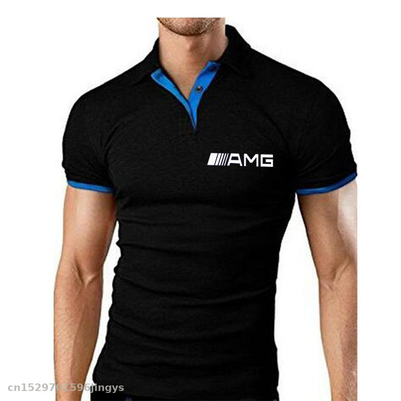New Men's Polo Shirt Summer For Amg Logo Short Sleeve Tshirts High Quality Sports Jerseys Clothes Top Tees Turn-down Collar Polo