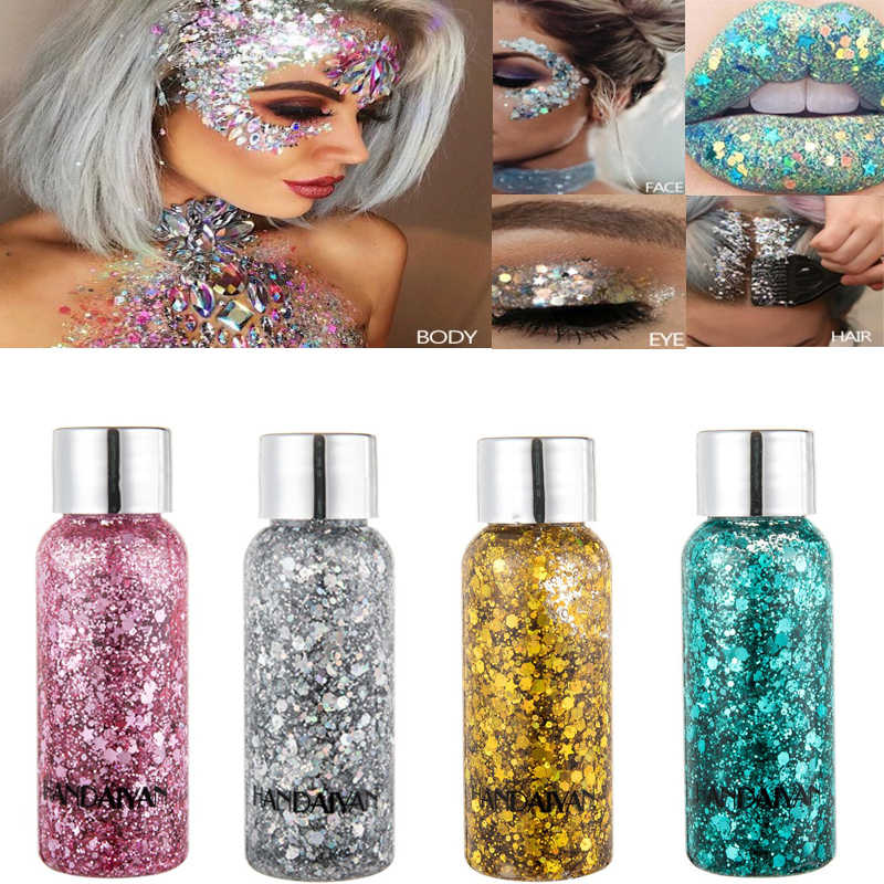 9 Colors Holographic Mermaid Glitter Eyeshadow Gel Body Face Eye Liquid Loose Sequins Pigments Makeup Cream Festival Gems