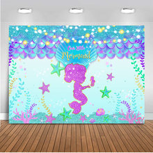 Neoback Mermaid Backdrop for Photography Children Newborn Baby Birthday Photo Background Under the Sea Party Decor Light Diamond(China)