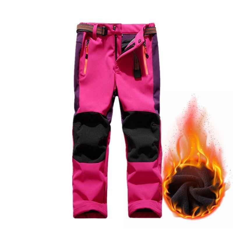 เด็กฤดูหนาวขนแกะกางเกงเดินป่า Softshell เด็กกันน้ำ Trekking กางเกงสกีกางเกงสำหรับชายหญิง 110-160 ซม.