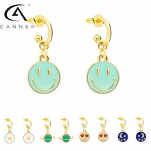 CANNER Smile Face 925 Sterling Silver Earrings With Dripping Oil Obsessed Planet Star Moon Pendants New Piercing Stud Ear Rings