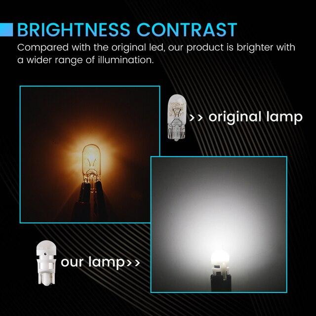 YM e-bright T10 W5W 2835 3 SMD voiture lumière Led lentille de gel 194 168 Auto ampoules 12V DC blanc bleu jaune rouge vert rose bleu de glace 10X