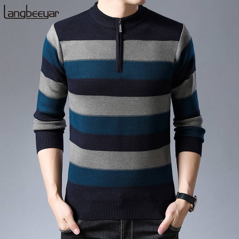 2019 New Fashion Brand Sweater For Mens Half Zip Pullover Slim Fit Jumpers Knit Woolen Autumn Korean Style Casual Men Clothes