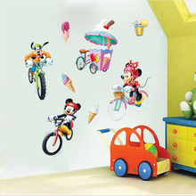 disney mickey minnie goofy ride bicycle wall stickers for kids rooms home decor cartoon decals pvc mural art diy posters