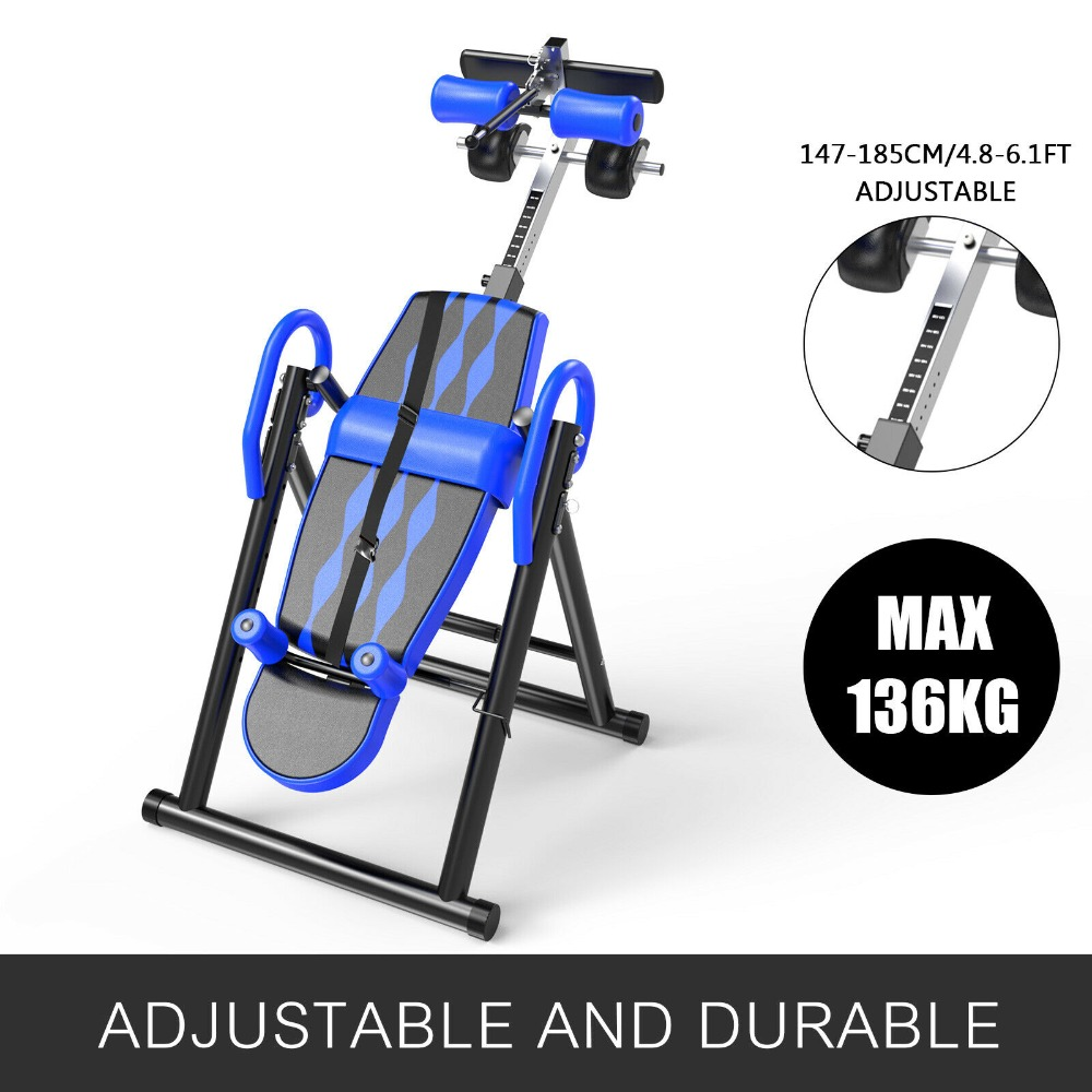 Foldable Inversion Table Gravity Back Therapy Reflexology Stretch Workout Home