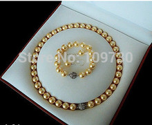 Schmuck 00797 Rare 10mm Real Südsee Goldene Shell Perle Halskette Armband Ohrringe Set AAA (A0423)(China)