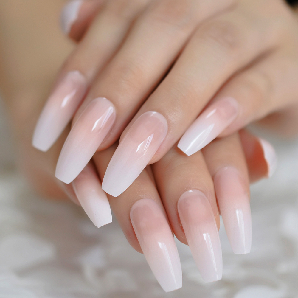 Ombre Gradient Pink Nude White French Ballerina Press On False Nails Extra Long Natural Coffin UV Gel Glue On Fake Fingers Nails